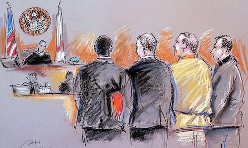 A courtroom artists captures defendant and lawyers standing before judge.